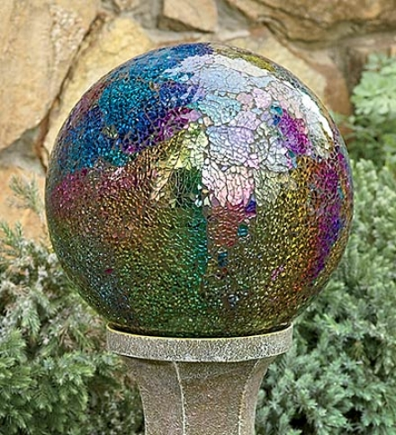 Colorful Mosaic Glass Garden Gazing Ball