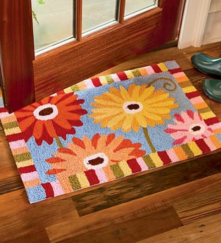 Colorful, Washable Hand-hooked Polyester Gerber Daisu Stress  Rug