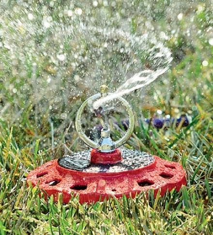 Colorstorm™ Metal High-efficiency Spinning Lawn And Garden Sprinkler With Rotating Seat of the brain