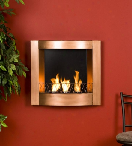 Copper-finish Wall Mount Fireplace