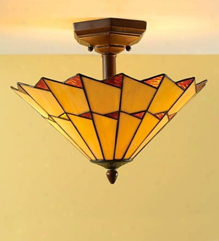 Copper-foiled Stained Glwss Ceiling Light In Amber And Ivory