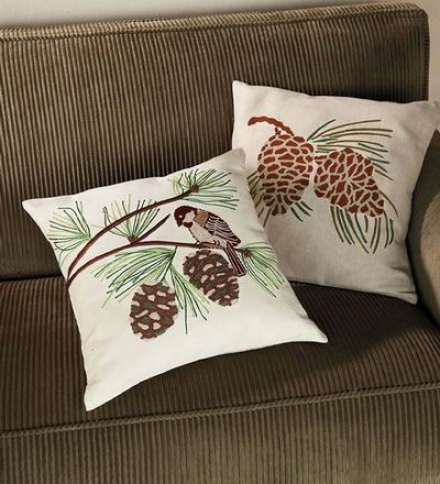 Cotton Embroidered Pine Cone Pillow