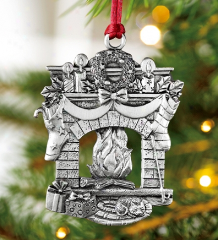 Cozyy Holiday Firelpace Pewter Ornament