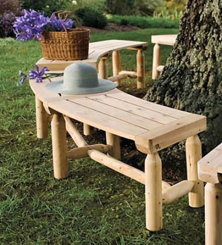 Curved Outdoor Solid Unfinished-wood Log Bench