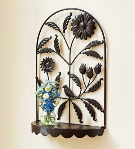 Decorative And Functional Floral Meral Wall Shelf