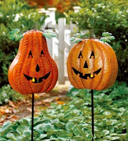 Decorative Painted Metal Pumpkin Yard Stakes, Set Of 2