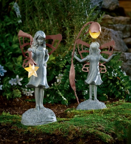 Decorative Star And Flower Fairies Witth Glowing Solar Lanterns Set