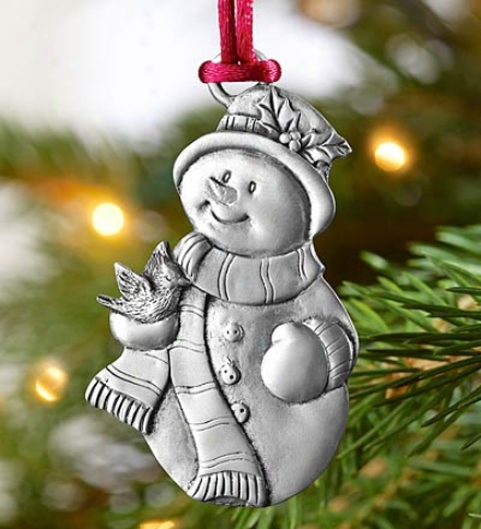 Detailed Pewter Snowman Ornament