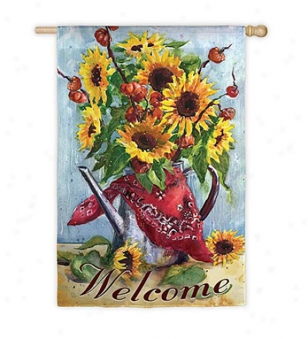 Double-sided Bandana Sunflower Garden Flag In Surded Fabric