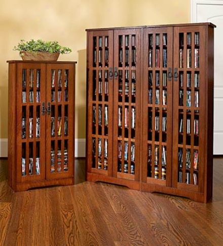 Double Width Arts And Crafts Style Glass-front Media Cabinet With Adjustable Shelves