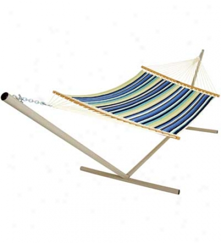 "Duracorc Quilted Hammock With Polished White-oak Spreader Bara4'7""w X 13'l"