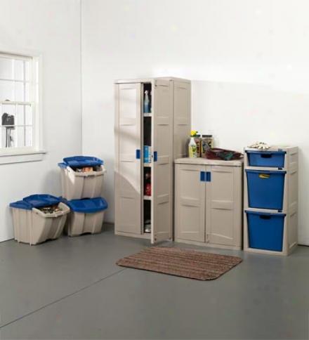 Easy Assembly Utility Shameful Cabinet With Tao Adjustable Shelve sFor Garage Storage