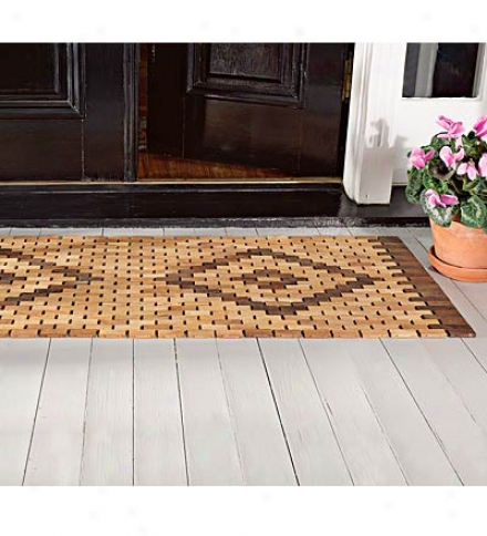 "Easy-care 19"" X 34""l Reversible Solid Teak Door Mat With Oiled Finish For Outdoors"