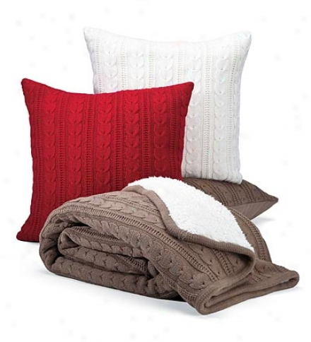 Easy Care Cotton/acrylic Cable Knit Pillow