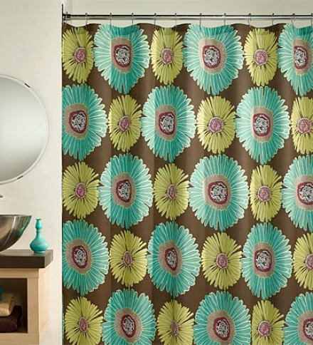 Easy-care Gerber Daisy Cotton/poly Shower Curtain