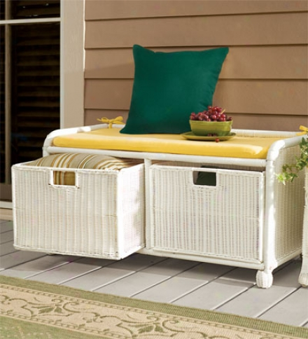 Easy Care Exterior Resin Wicker Storage Bench