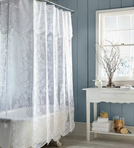 Easy-care Polyester Somerset Lace Shower Curtain