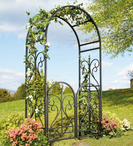 Elegant Black Steel Scroll Finial Arbor Without Gate