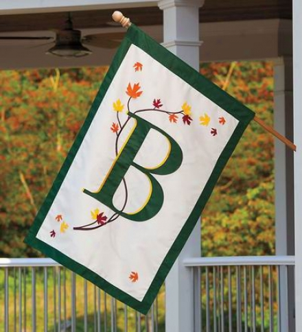 Eleggant Fall Laeves Monogram House Flag