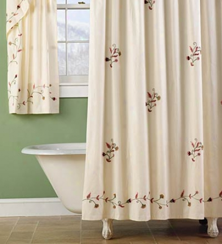 Ellen's Garden Embroidered Bath Window Bend