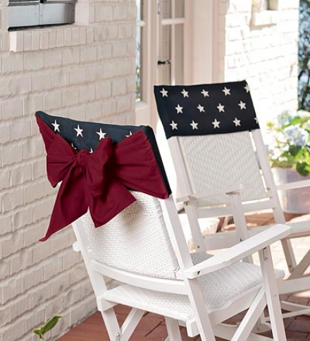 Embroideed 100% Cotton American Flag Chair Bow