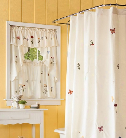 "Emily Floral Window Curtain 36""l Tiers"