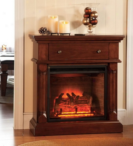 Energy-saving Console Electric Fireplace With Drawer And Two Heat Settings
