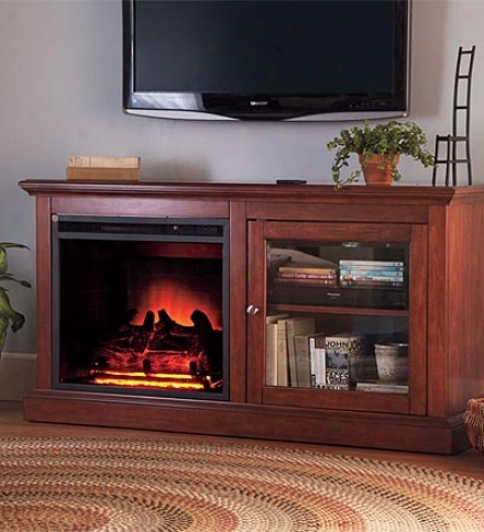 Energy-saving Electric Fireplace With Media Cabinet Storage And Two Heat Settings