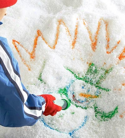 Environmentally And Child-safe Dissoluble Tinted Powder Sno-paint Refills
