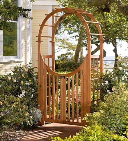 Eucalyptus Arch-top Garden Arbor With Latched Gate