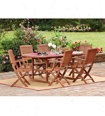 Eucalyptus Outdoor Dining Extension Table And Set Of-6 Folding Chairs