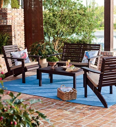 Eucalyptus Outdoor Seating St In Chocolate Polish Including Loveseat, 2 Chairs And Coffee Table