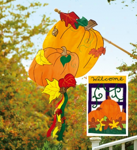Fade-resistant Deluxe Pumpkin Banner, 'welcome' Garden Flag Starter Kit With Flagpole And Bracket Kit