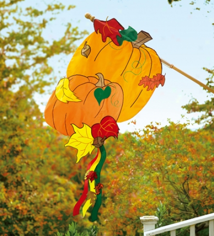 Fade-resistant Double-slded Pumpkin Appliqué House Flag