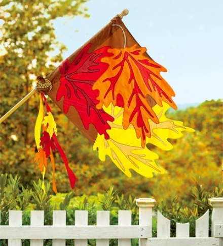 Fade-resistant Embroidered Appliquéd Faall Leaves House Flag
