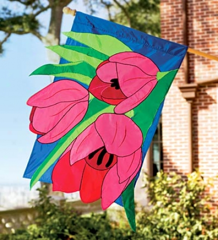 Fade-resistant Tulips Appliqué Flag Wigh Enbroidered Stitching
