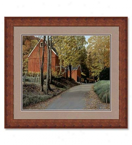 Fall Splendor Barn Print By Helen Rundell