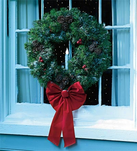 Faux Fir Indoor/outdoor Wreath With Battery-operated Timer Candles