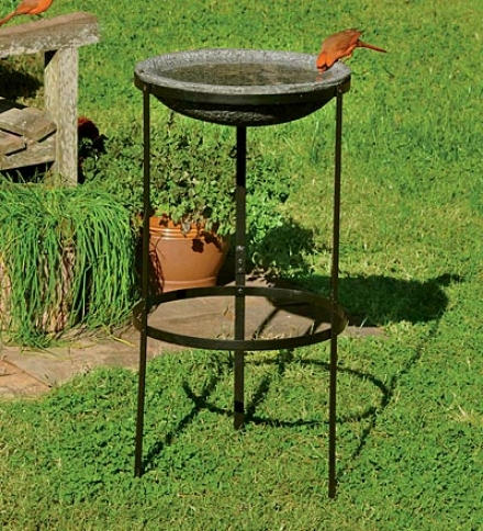 Faux Stone Birdbath With Metal Stand