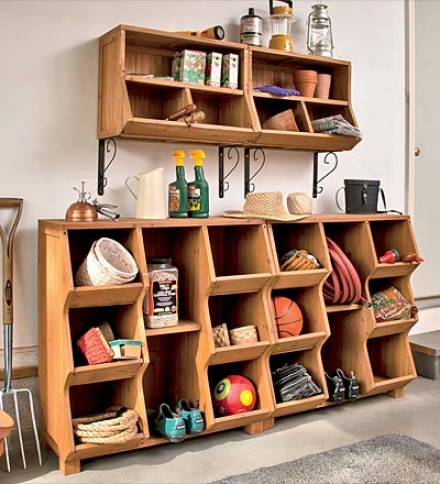 Fir Wood Wall Cubby With Removable Center Shelfbuy 2 Or More At $79.95 Each
