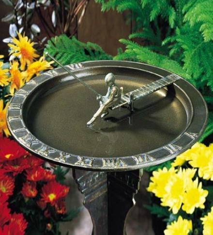Fisherboy Sundial Birdbath