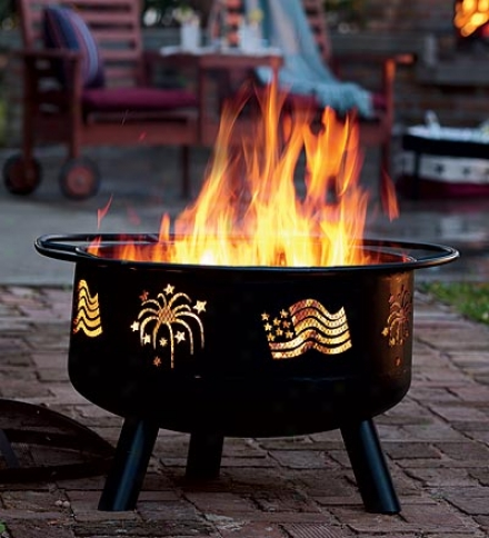 Flags & Fireworks Steel Fire Pit With Spark Guard Lid