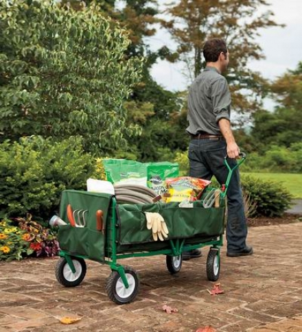 Folding Steel Garden Wagon With Canvas Liner