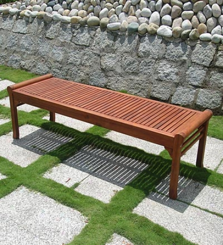 Forest Stewardship Council-certified Eucalyptus Outdoor Backless Bench