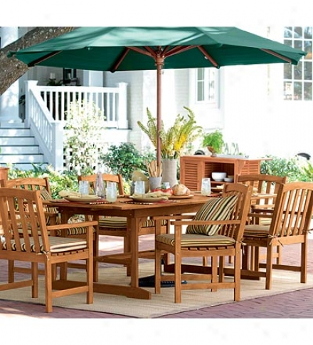 Forest Stewardship Council-certified Eucalyptus Outdoor Extension Stand  And Six Chairs Setsave $219.70 On The Set!