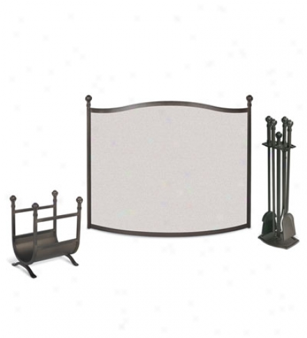 Forged Iron Ball & Claw Fireplace Screen, Tool Set And Wood Holder Ensemble