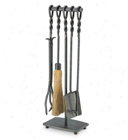 Forged Iron Soldiered Broil Fireplace Tool Set