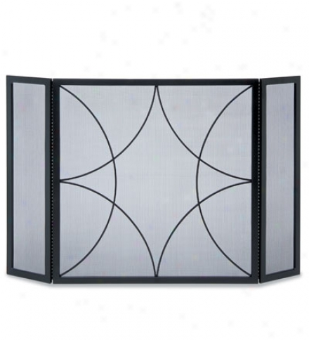 Forged  Steel Diamond Three-panel Fireplace Veil