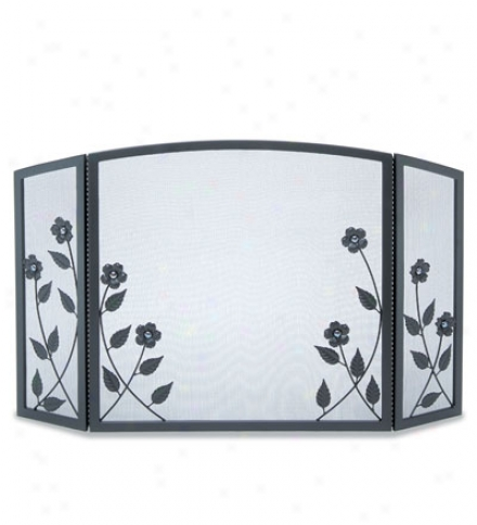 Forged Steel Floral Three-panel Fireplace Riddle