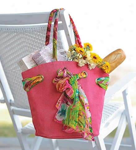 Fuchsia Oliiva Jute Tote With Removable, Coordinating Scarf